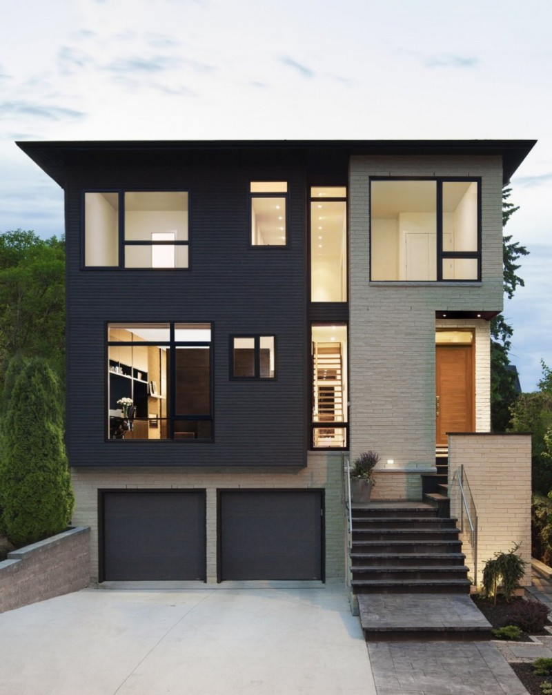 black and white exterior