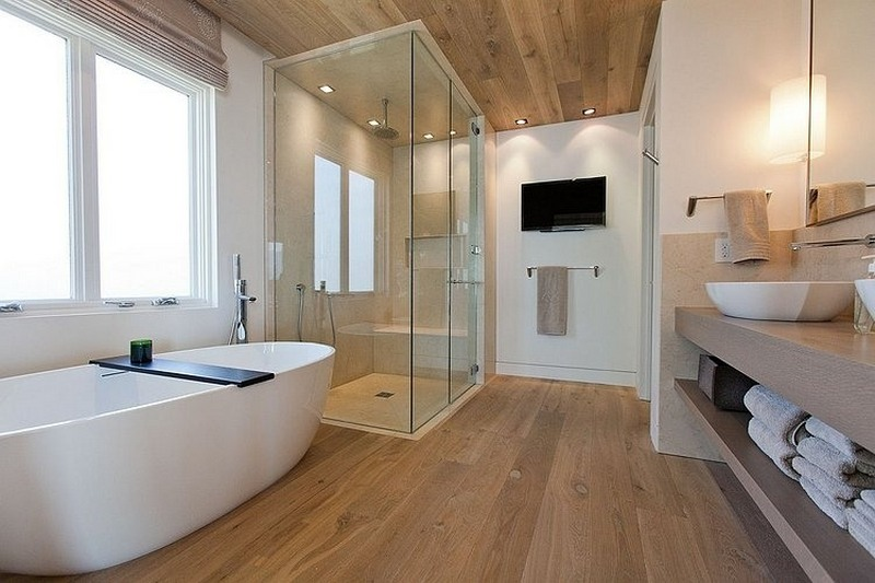 wooden floor in the bathroom