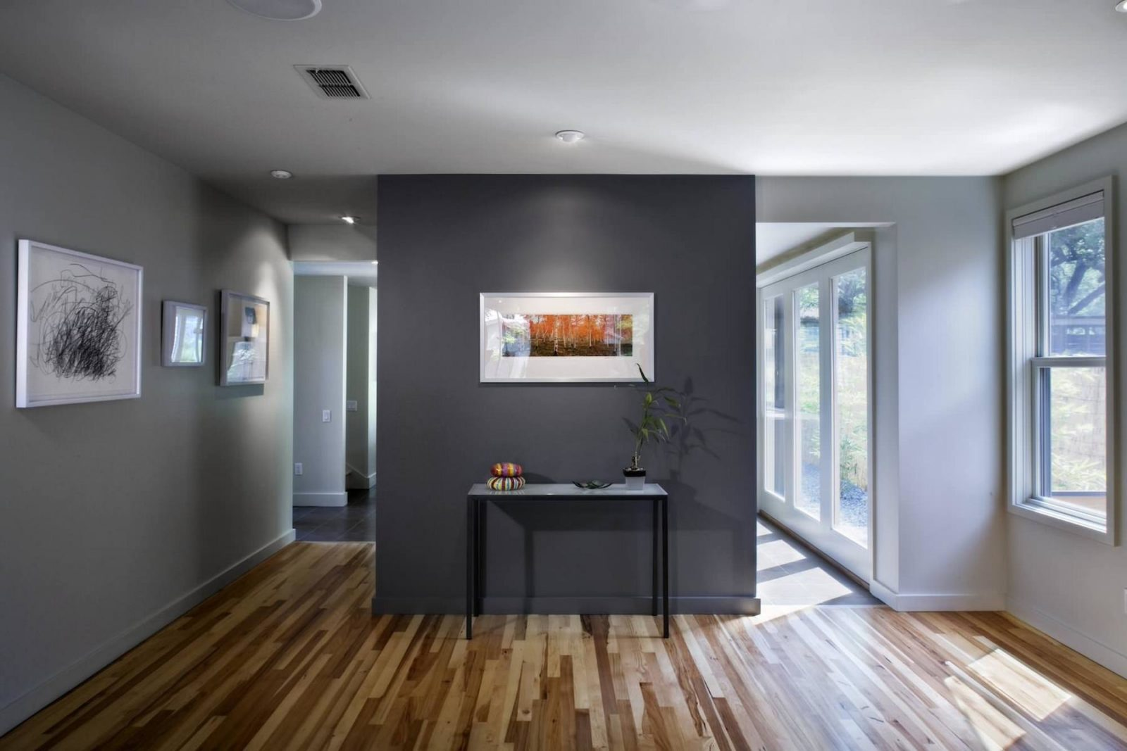 Dark Grey And Ligth Colors In The Contemporary Living Room