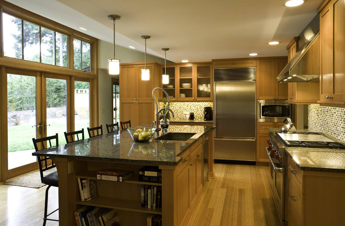 Layout Of Kitchen Island And Bookcase At End
