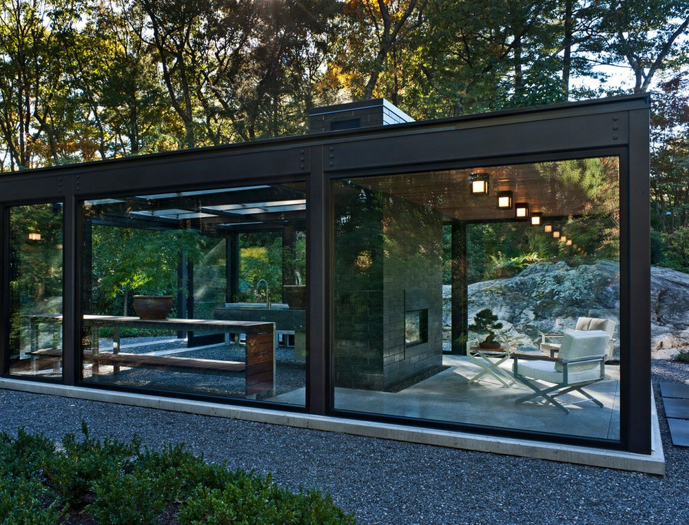 Exposed steel beams and glass for Small glass house plans