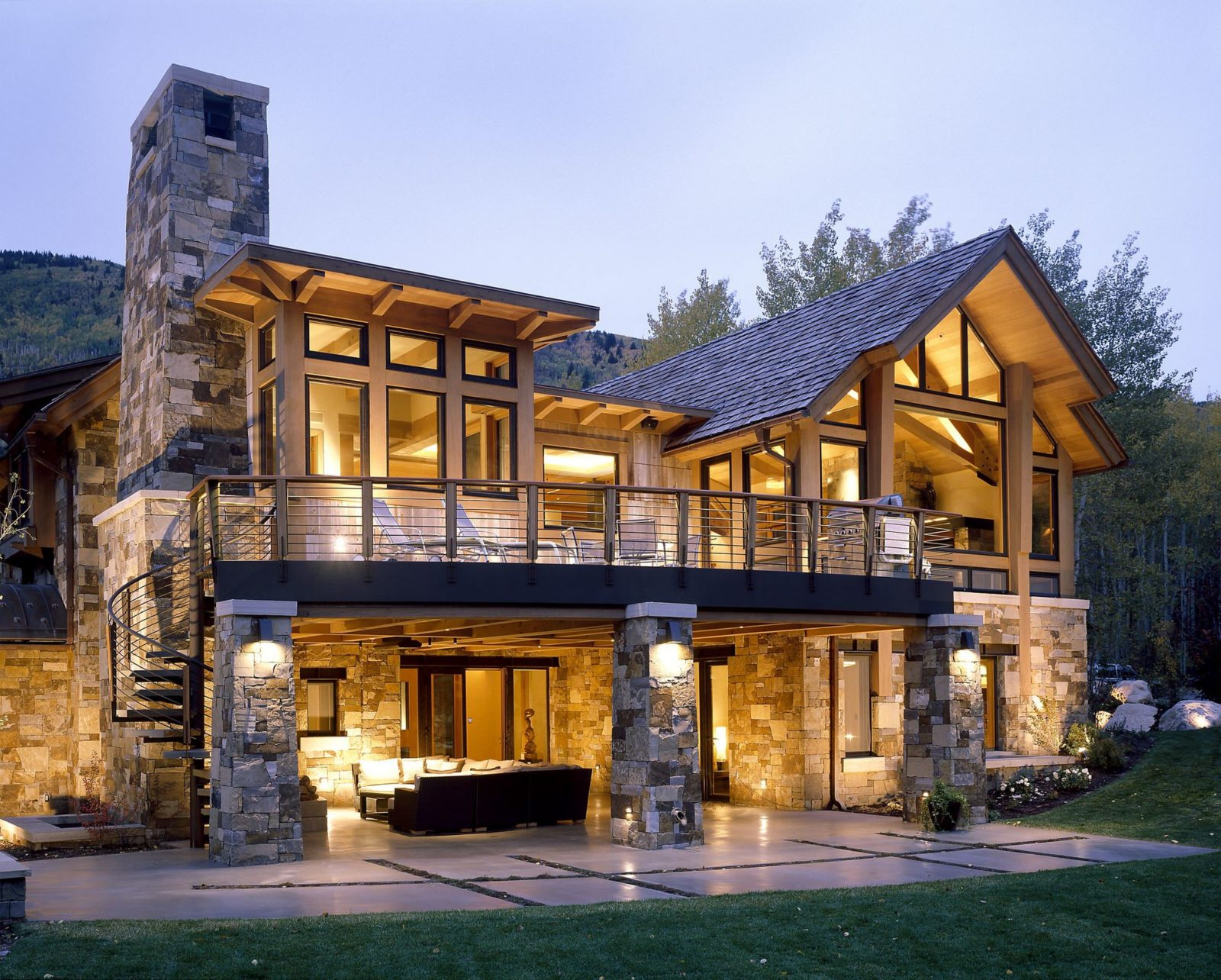 Stone and wood house plans