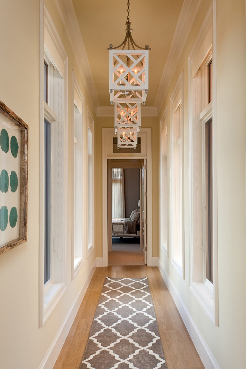 Narrow hallway rug and beautiful lights for Interior decor hallways