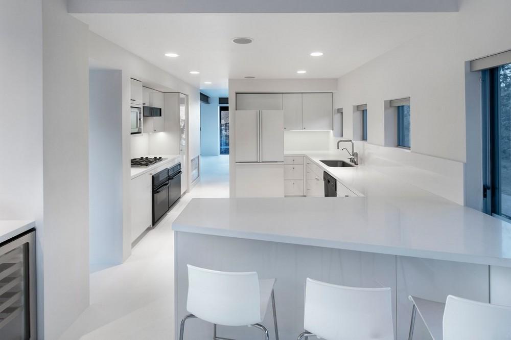 All White Kitchen Except Black Appliances