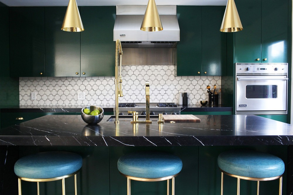 Turquoise counter stools and hunter green kitchen cabinets