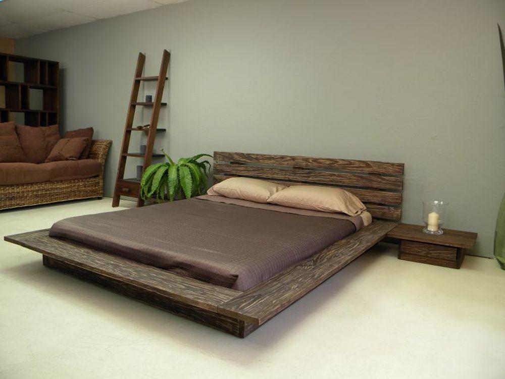 современная деревянная кровать