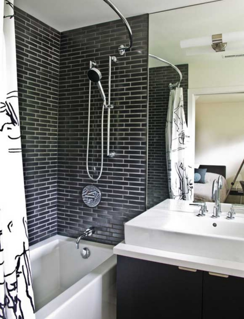 26 perfect ways to use black bathroom tiles in interior design. Black Bedroom Furniture Sets. Home Design Ideas