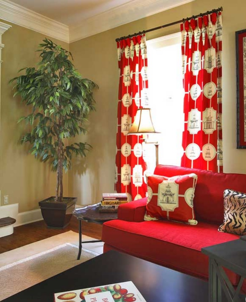 35 fotos de cortinas rojas que inspiran for Red and cream curtains for living room