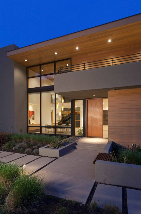 Wood, steel, glass exterior combination and clean lines