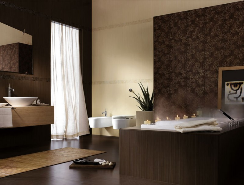 bathroom with brown tiles