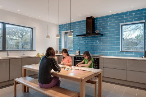 blue beveled edge brick tiles splashback kitchen
