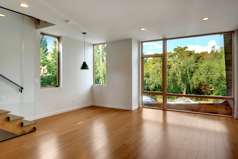 Bamboo flooring white walls and floor to ceiling window for White walls black ceiling