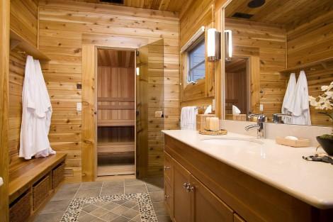 cedar walls with stone floor inlay in the sauna