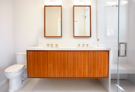 cherry wood cabinet double basin
