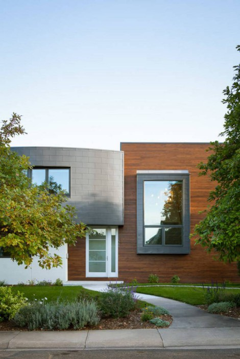 combo of wood glass and grey stucco