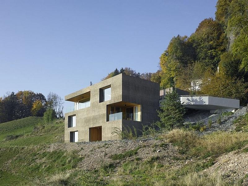 concrete exterior with wooden interior
