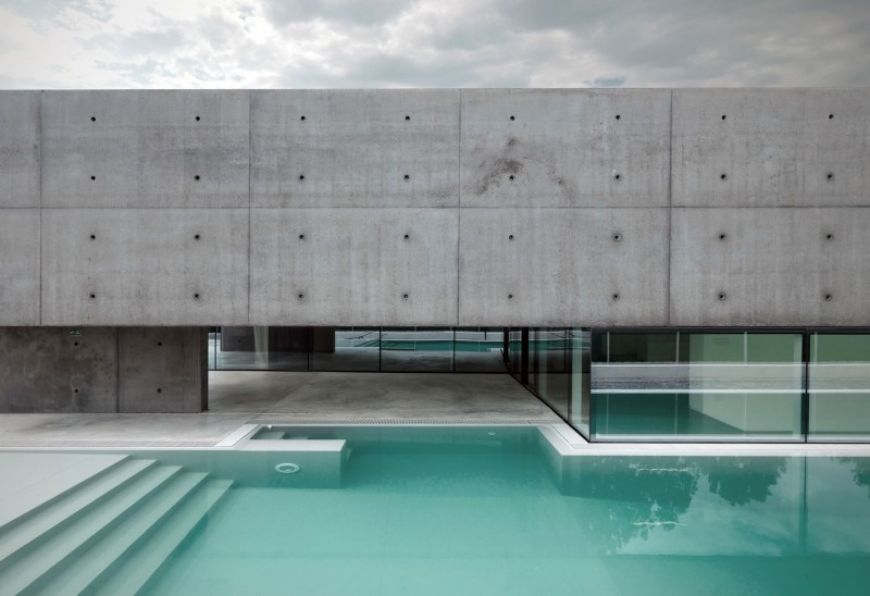 concrete house and pool