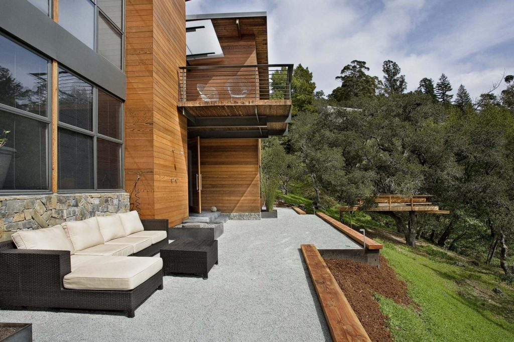 contemporary house with overlooking patio