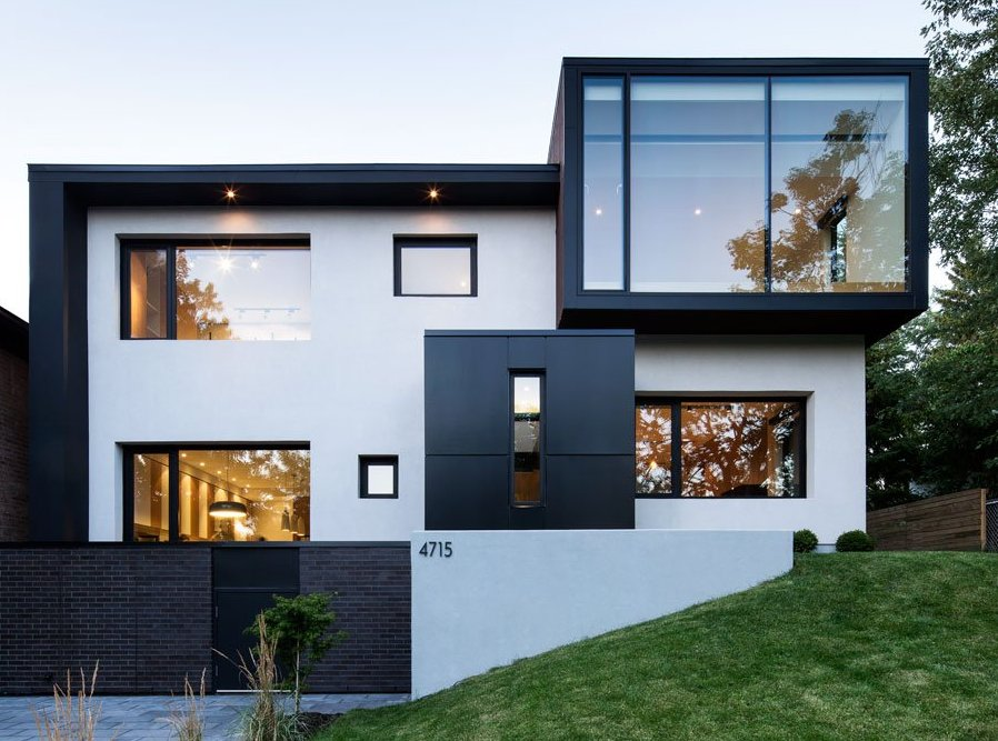 cubic house with monochrome elements