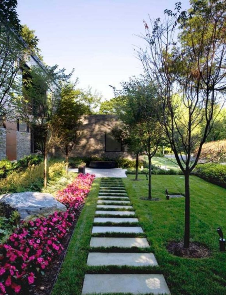 cute garden with stepping stones
