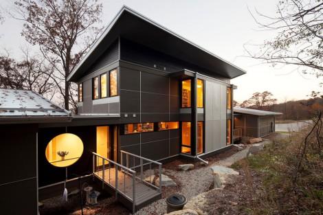 dark exterior modern home