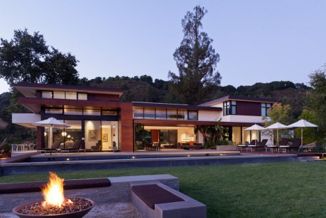 geometric style home with firepit