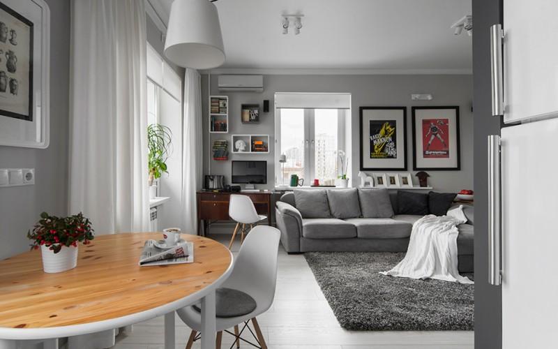 50 Shades of Grey: Männlich wirkende Wohnung neckt mit unterschiedlichen Tönen von Grau