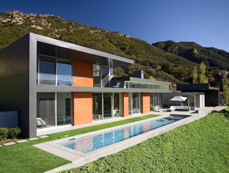 grey house contemporary pool