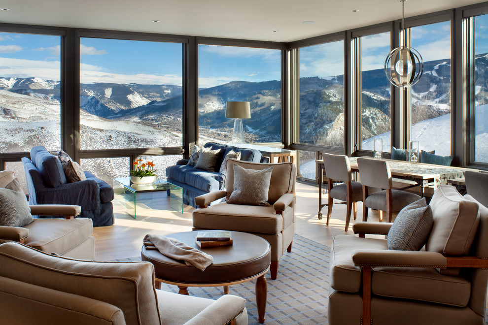 living room with amazing alpine view