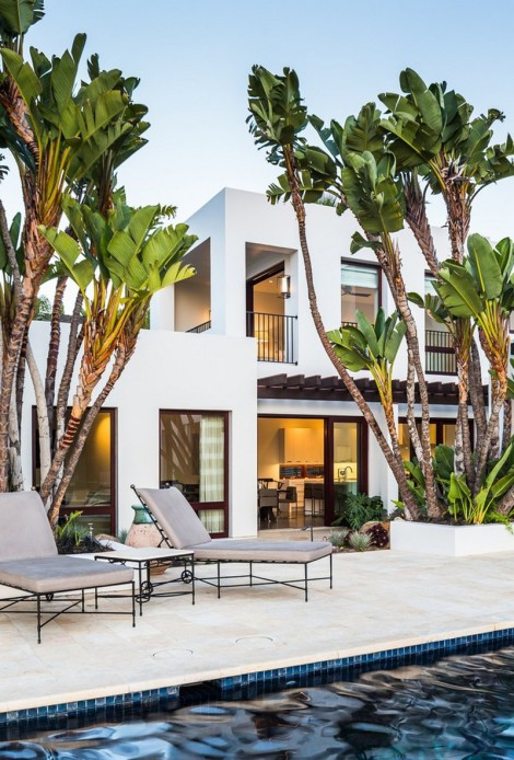 Mediterranean and contemporary architecture mixing with palm trees and poolside