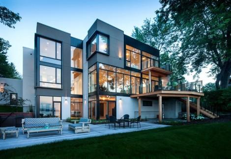 metallic ottawa river home with wood