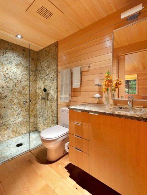 natural materials in small bathroom