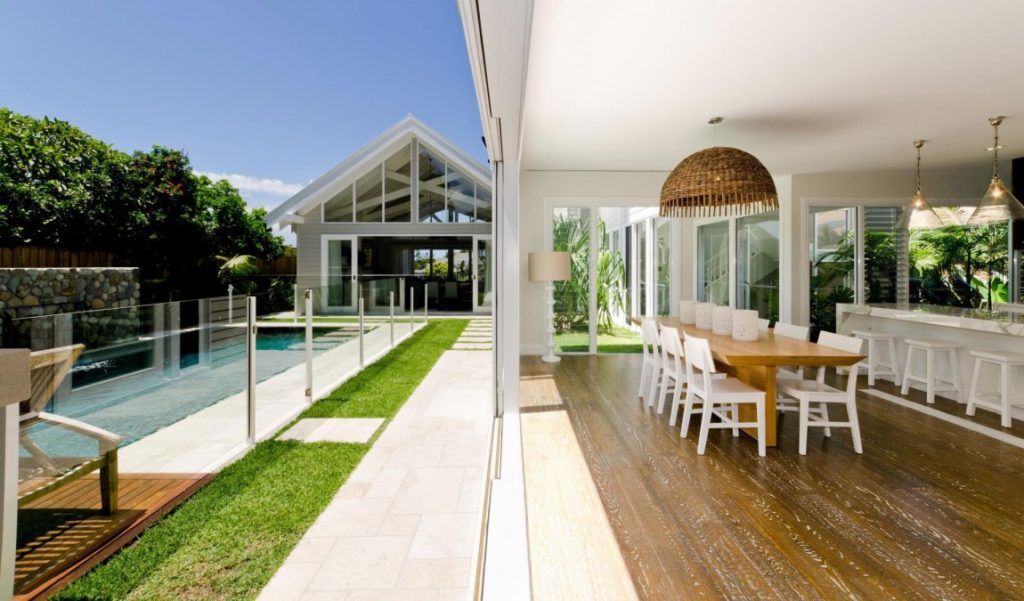 open plan space with outdoor pool