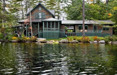 skirting around deck of lake house