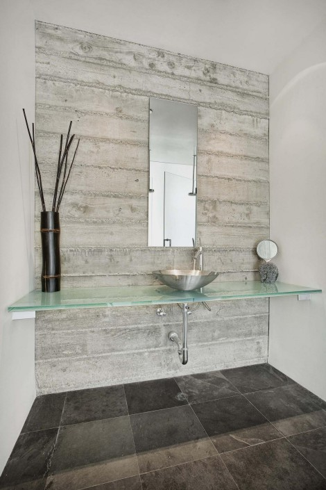 soapstone bathroom floor with glass counter