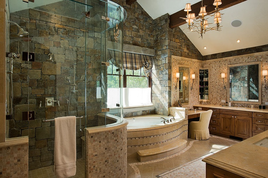 stonework bathroom with intricate detail