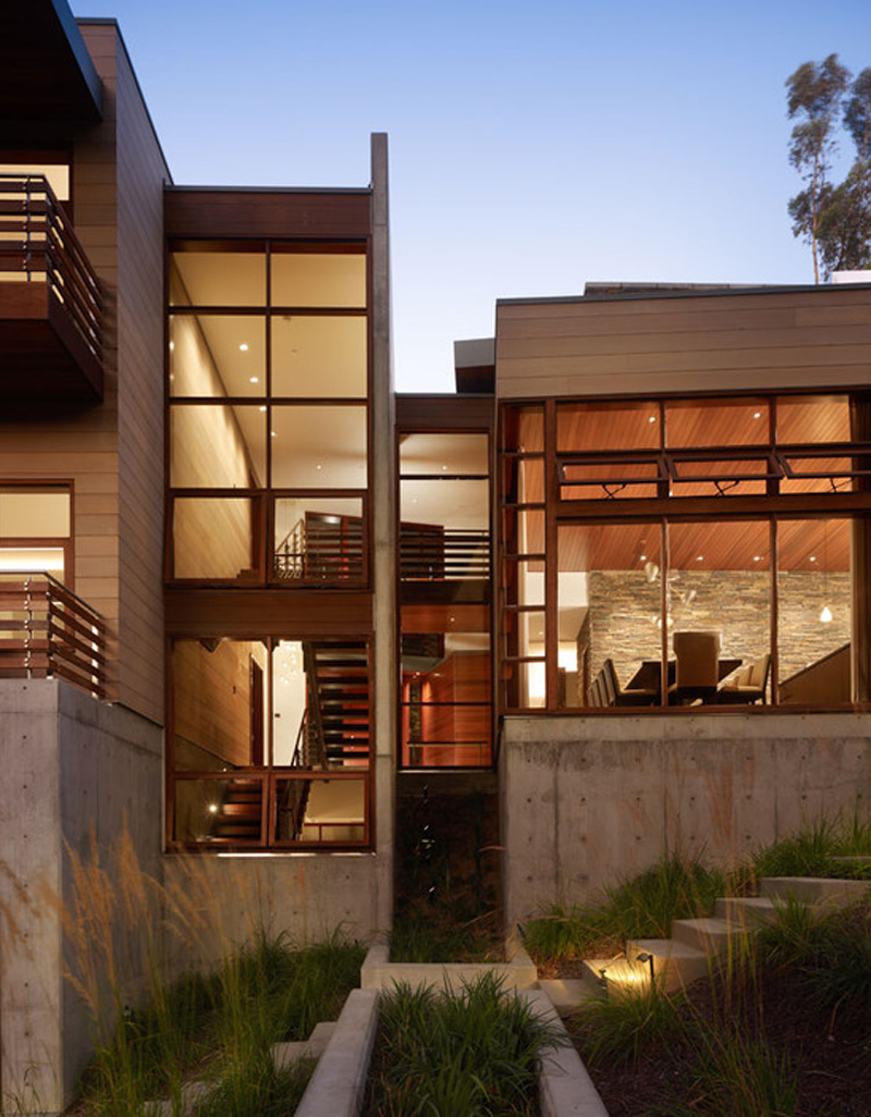 House On The Canyon Concrete Steel Wood Combined