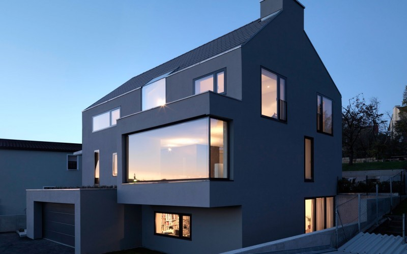 Interesting Flat Gray Colored Modern House