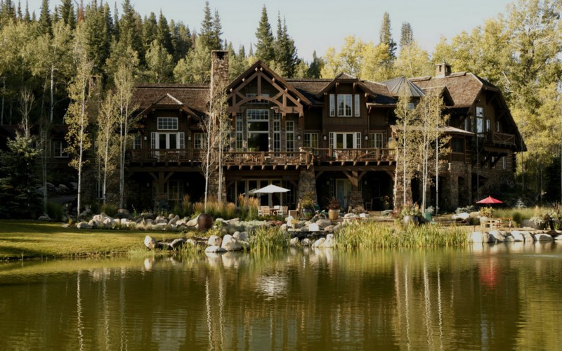 rustic lake mansion