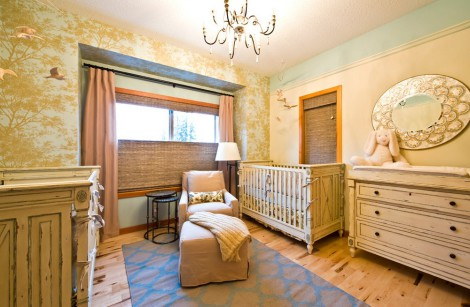 traditional wooden furniture in childrens nursery