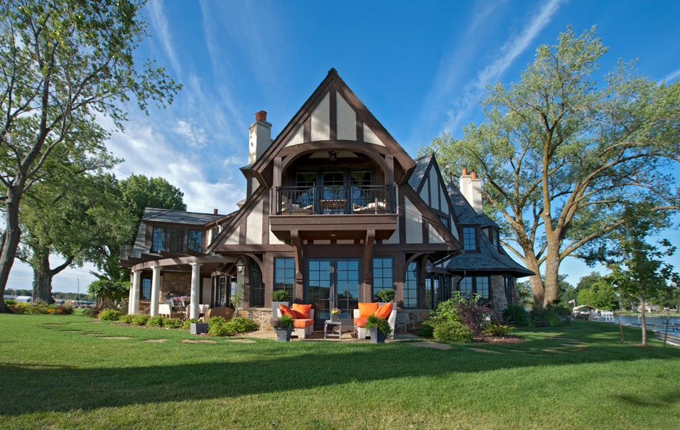 tudor style lakeside home