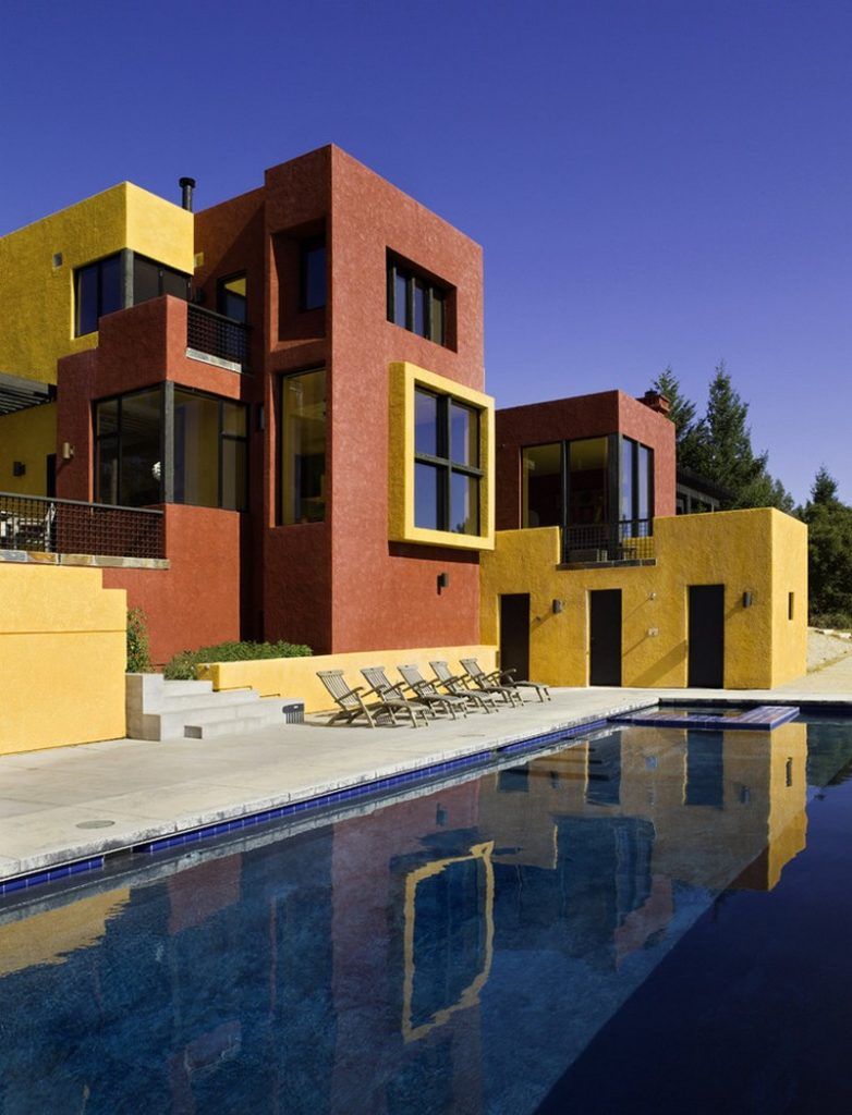 vibrant colour house with outdoor swimming pool