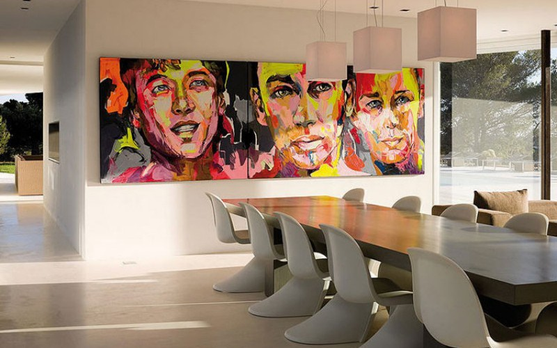wall art with modern chairs