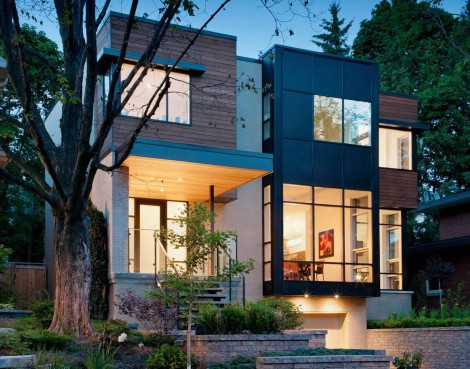 wood metal and glass facade modern house