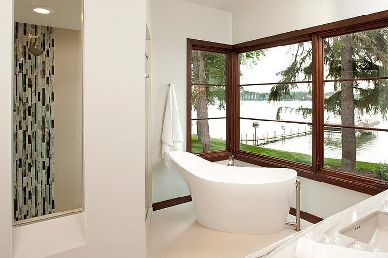 bathroom with lake views