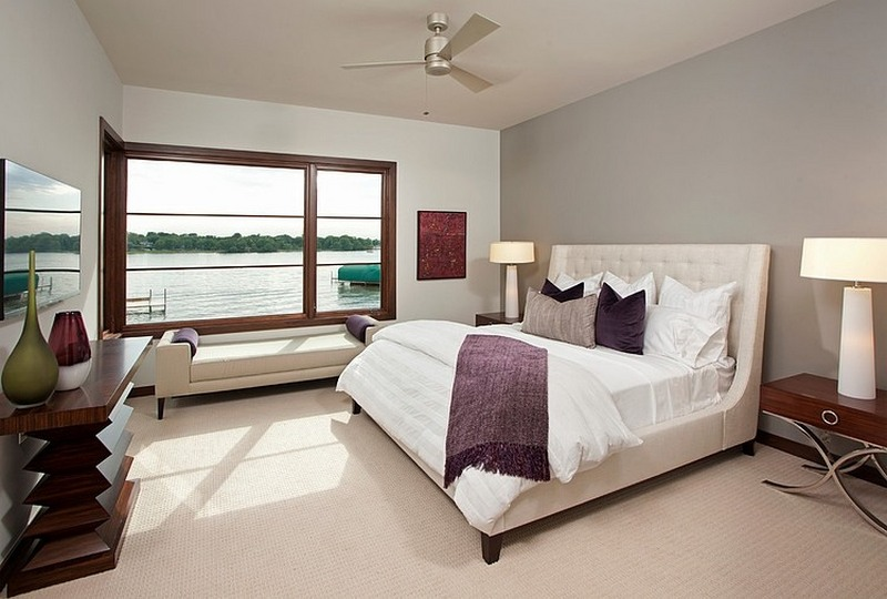 modern bedroom with lake view