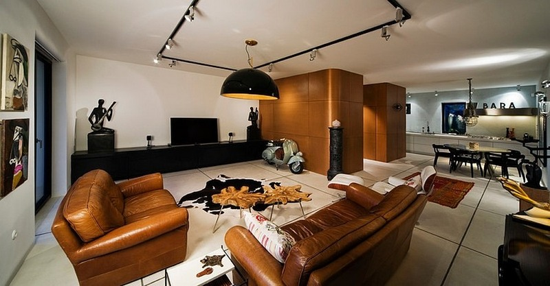 eclectic interior of the apartment