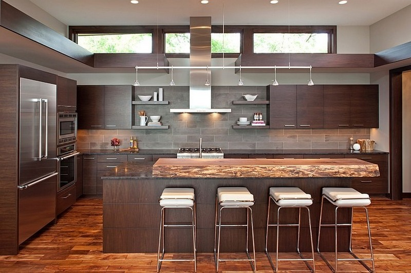 modern kitchen in brown