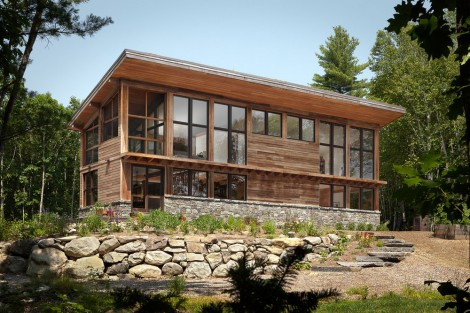 contemporary wooden home on pemaquid pond