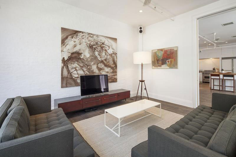 cool modern room with interesting art on the walls